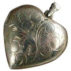 Vintage Sterling Silver Large Puffy Heart Locket Pendant