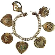 14K Gold Heavy Charm Bracelet Seven Large Jeweled Charms | 63.9 Grams