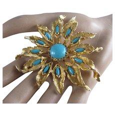 Stunning DeNicola Flower Starburst Faux Turquoise Brooch