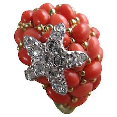 Kenneth Jay Lane Faux Coral Cabochon Starfish Large Statement Ring Size 10.25