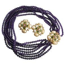 1990's Elizabeth Taylor's Forever Violets Necklace and Earrings Set