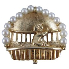 1960's 14K Gold Large Baby in Crib Pearls Vintage Charm / Pendant / 13 Grams