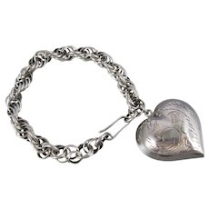 Vintage Sterling Silver thick twisted chain bracelet with Large Etched Puffy Heart Charm
