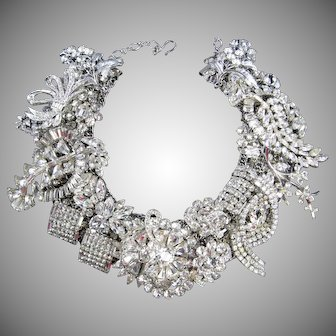 Red Carpet Ready - Artisan One of a Kind Crystal Clear Rhinestone Statement Necklace