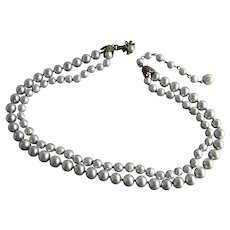 Miriam Haskell Silvery Gray Double Strand Baroque Faux Pearl Necklace