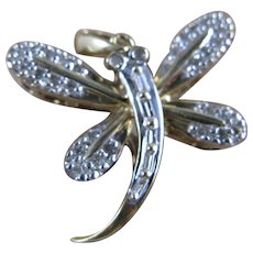 Vintage 10K Yellow Gold Diamond Dragonfly Pendant/Charm