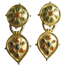 Vintage Bob Mackie Matte Gold Tone Drop Dangle Clip Earrings