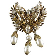Original by Robert Dangle Faux Pearl and Rhinestones Brooch