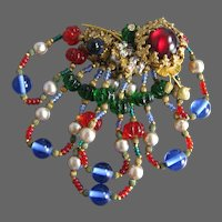 Spectacular Miriam Haskell Red Blue Green Molded Glass Dangling Beaded Large Brooch