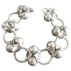 Mexican 980 Fine Sterling Silver Art Deco Style Berries Bracelet