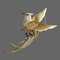 Marcel Boucher Large Gold Tone Bird of Paradise Brooch