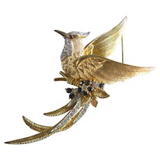 Marcel Boucher Large Gold Tone Bird of Paradise Brooch