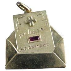 18K Gold Ruby Large French Love Letter in Envelope Charm Pendant Vintage 7 Grams