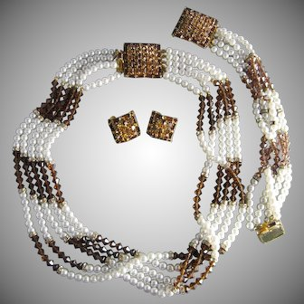 Vintage Hobe Amber and Gold Rhinestone Faux White Pearl Necklace Bracelet Earrings Set