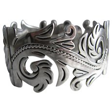 Mexico Anton Plata Sterling Silver Wide Acanthus Leaves Design Bracelet Vintage