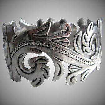Mexico Anton Plata Sterling Silver Wide Acanthus Leaves Design Bracelet Vintage