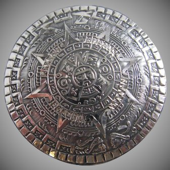 Sterling Silver .925 Mexico Aztec Calender Brooch Pendant