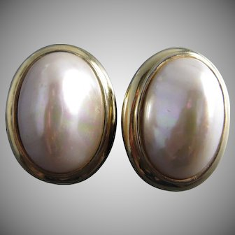 Ciner Large Faux Pearl Gold Plated Base Metal Earrings