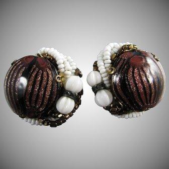 Eugene Copper Glitter Glass White and Copper Beaded Earrings