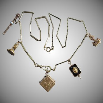 Antique Victorian 14K Gold Watch Chain Necklace with Fobs 36.7 Grams