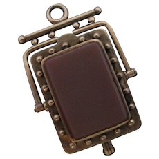 Antique 14K Gold Carnelian Flip Watch Locket Fob 13 Grams
