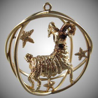William Ruser 14K Gold Large Aries Ram Caged Charm/22.3 Grams