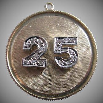 Vintage 14K gold two toned 25 anniversary diamond charm pendant