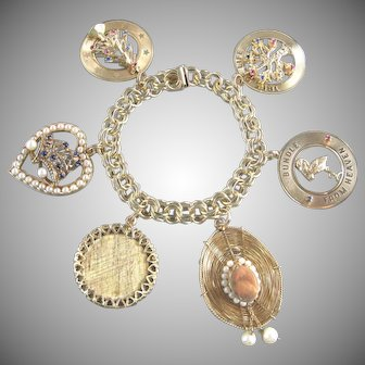 Vintage 14K Gold Double Link Charm Bracelet with Six Big 14K Charms/ 56.6 Grams