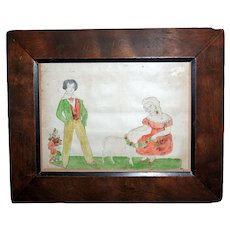 Early Folk Art School Girl Pencil and Watercolor Boy Girl Lamb c1830-50