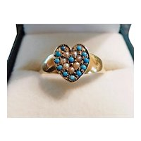 Antique Heart Ring 18Kt Gold Persian Turquoise Pearls c1860s