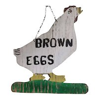 Home Made Trade Sign c1950 Brown Eggs White Chicken