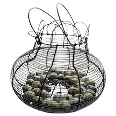 Vintage Egg Basket ~ Wire with Hollow Quail Eggs