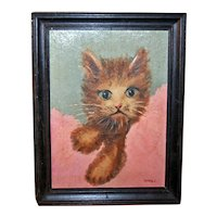 Kitten in a Blanket Oil Painting Mid-20th Century Signed