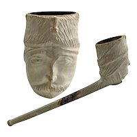 Carved Clay Pipe Ottoman Soldier's Head Bowl c1918