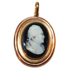 Historic Hardstone Cameo Pendant c1820 Georg LeClerc French Naturalist kt Rose Gold