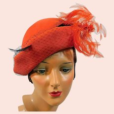 Women's Vintage Hat Original Henry Pollak New York for Glenover c1940