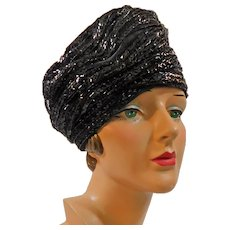 Glistening Vintage Turban Hat by Eddi / Bonwit Teller c1950-60