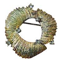 Designer Pin Brooch Gilt Sterling Silver Les Bernard Natural White Tourmaline Stones