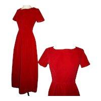 Vintage Velvet Gown c1950s Lipstick Red Classic Elegance