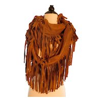 Vintage Fringed Round Scarf Cowboy Faux Suede c1970-80s
