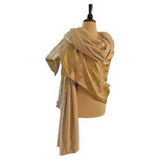 Evening Wrap in Gold Lame Brocade and Velvet 1950s