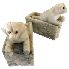 Vintage Bookends Marble Labrador Retrievers Mid-Century Glass Eyes
