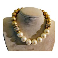 Stunning Power Necklace c1980s Large Pearl, Goldtone & Cloisonne Beads 17mm-20mm