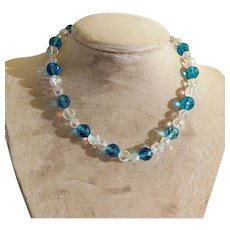Faceted Crystal Necklace c1950s Blue, Clear