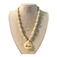 Vintage Necklace Elephants Quality Carved Bone c1960