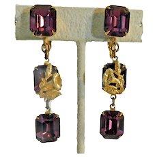 Vintage Dangle Earrings Miriam Haskell c1975 Clip Backs
