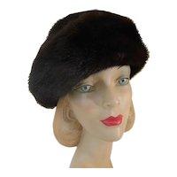Women's Vintage Mink Bowler Hat c1950