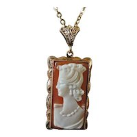 Antique Gold Pendant Necklace Shell Cameo Portrait Young Woman 9K Chain 10K Shell Cameo