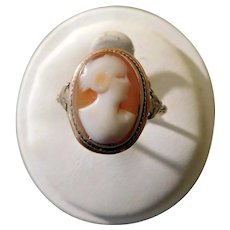Period Deco Ring c1930 2-Color Gold Signed, Shell Cameo Hand Carved