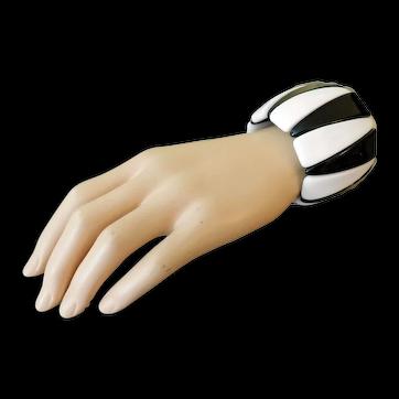 Vintage Bracelet Geometric Black White Forms c1970s
